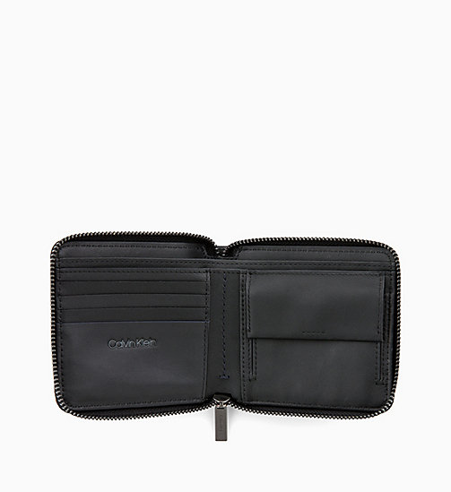 CALVIN KLEIN Square Leather Zip-Around Wallet - BLACK / NAVY / STEEL GREYSTONE - CALVIN KLEIN MEN - detail image 1