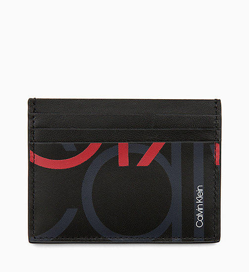 CALVINKLEIN Leather Logo Cardholder - BLACK/NIGHTSCAPE/ROUGE - CALVIN KLEIN WALLETS & SMALL ACCESSORIES - detail image 1