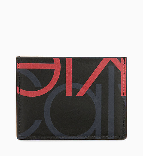 CALVIN KLEIN Leather Logo Cardholder - BLACK/NIGHTSCAPE/ROUGE - CALVIN KLEIN ALL GIFTS - main image