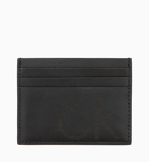 CALVIN KLEIN Leather Cardholder - BLACK - CALVIN KLEIN WALLETS & SMALL ACCESSORIES - main image