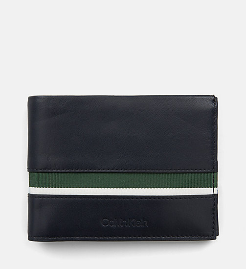 CALVIN KLEIN Leather Wallet - NAVY /GREEN GRASS /OFF WHITE - CALVIN KLEIN WALLETS & SMALL ACCESSORIES - main image
