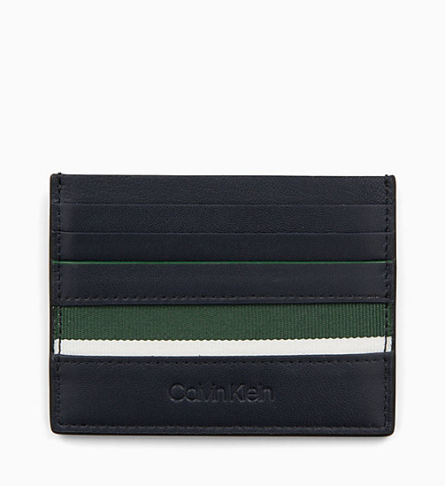 CALVIN KLEIN Leather Cardholder - NAVY /GREEN GRASS /OFF WHITE - CALVIN KLEIN WALLETS & SMALL ACCESSORIES - main image