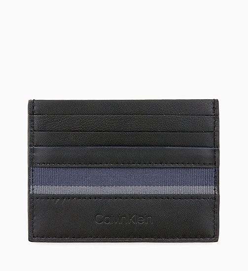 CALVIN KLEIN Leather Cardholder - BLACK / NAVY / STEEL GREYSTONE - CALVIN KLEIN WALLETS & SMALL ACCESSORIES - main image