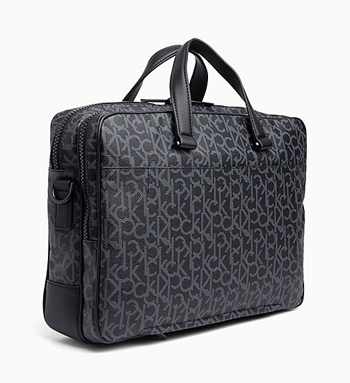 CALVIN KLEIN Logo Laptop Bag - BLACK MONOGRAM - CALVIN KLEIN LOGO SHOP - detail image 1