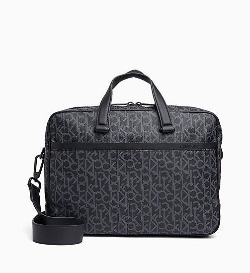 CALVIN KLEIN Logo Laptop Bag - BLACK MONOGRAM - CALVIN KLEIN LOGO SHOP - main image