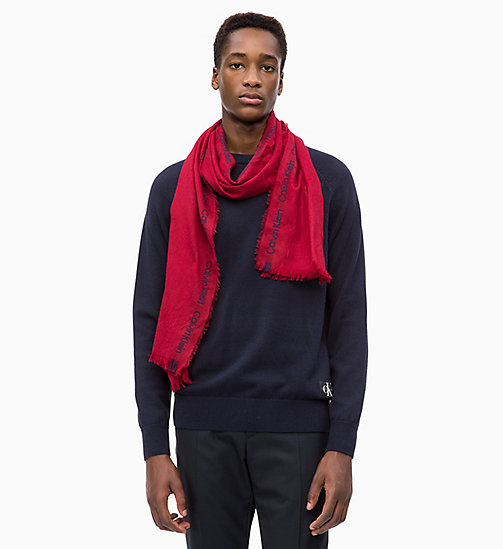 CALVIN KLEIN Selvedge Wool Scarf - RED ROCK - CALVIN KLEIN SCARVES - detail image 1