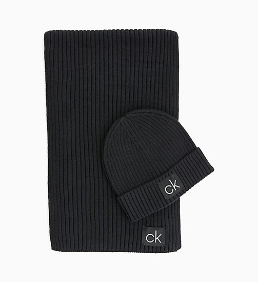 CALVINKLEIN Scarf and Beanie Gift Box - BLACK - CALVIN KLEIN SCARVES - main image