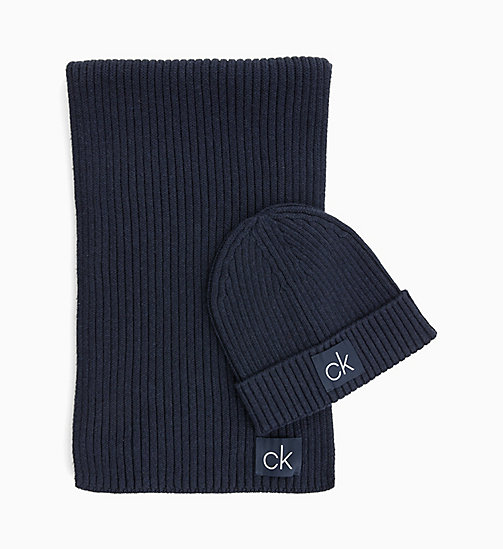 CALVIN KLEIN Scarf and Beanie Gift Box - DARK NAVY - CALVIN KLEIN SCARVES - main image
