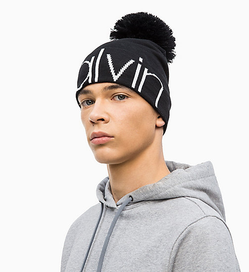 CALVINKLEIN Wool Blend Pom-Pom Beanie - BLACK - CALVIN KLEIN NEW IN - detail image 1
