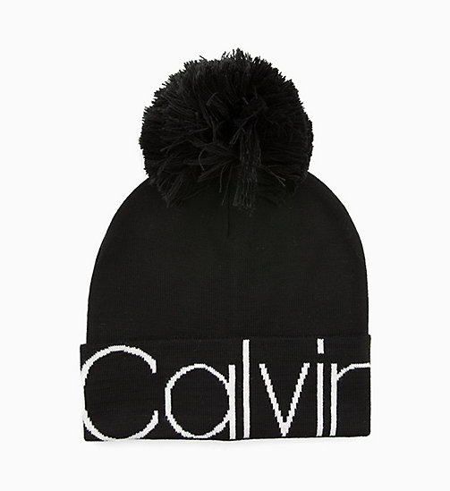CALVINKLEIN Wool Blend Pom-Pom Beanie - BLACK - CALVIN KLEIN NEW IN - main image