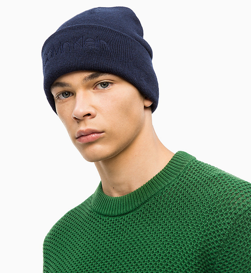 CALVINKLEIN Wool Blend Beanie - BLACK - CALVIN KLEIN MEN - detail image 2