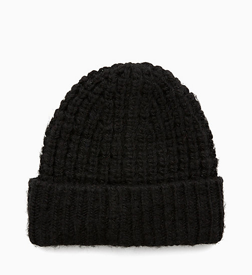 CALVINKLEIN Chunky Wool Blend Beanie - BLACK - CALVIN KLEIN IN THE THICK OF IT FOR HIM - detail image 1