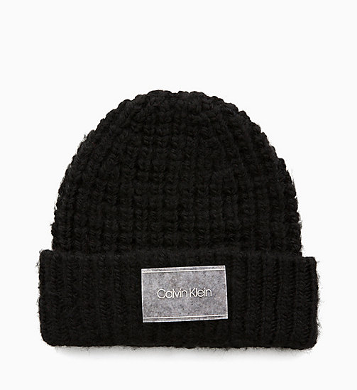 CALVIN KLEIN Grob gestrickte Beanie aus Wollgemisch - BLACK - CALVIN KLEIN IN THE THICK OF IT FOR HIM - main image