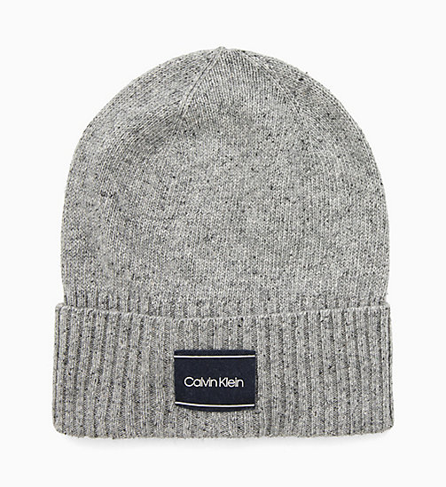 CALVIN KLEIN Wool Blend Beanie - MID GREY HEATHER B38 - VOL39 - CALVIN KLEIN HATS - main image