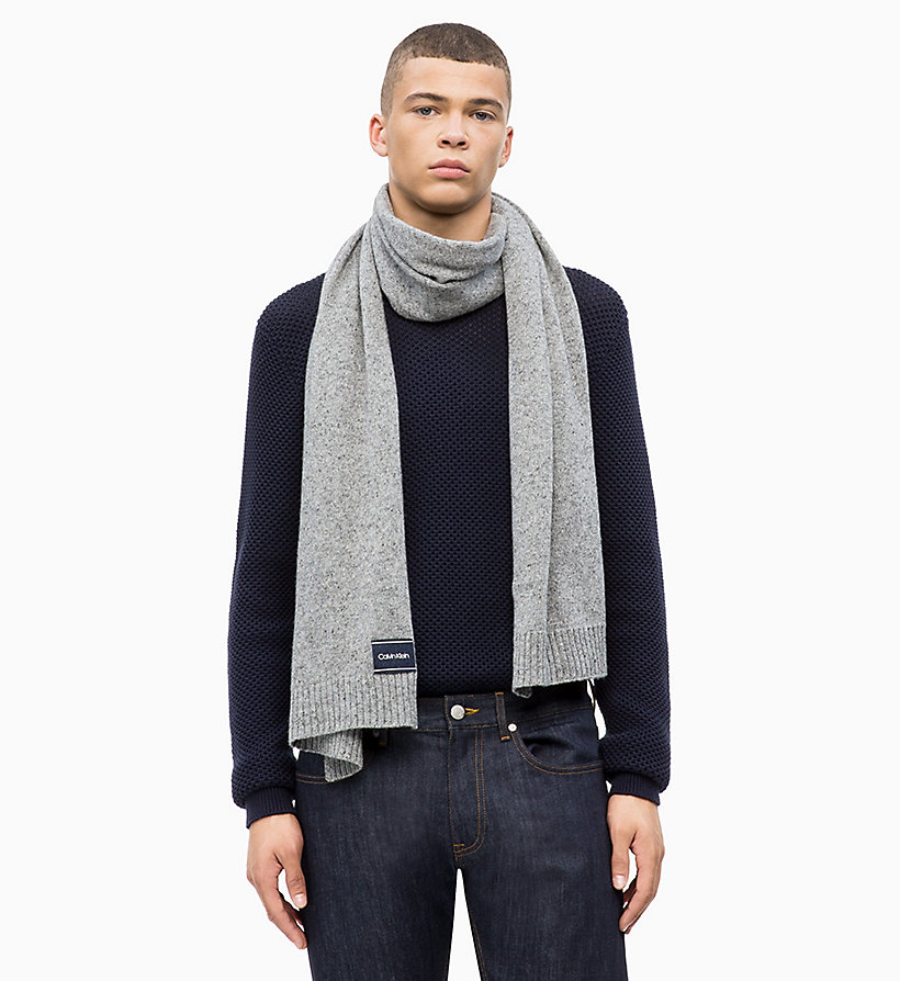 CALVIN KLEIN Wool Blend Scarf - BLACK - CALVIN KLEIN MEN - detail image 1