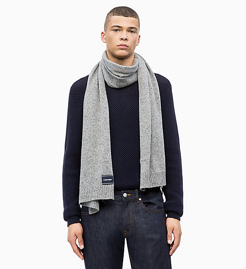 CALVIN KLEIN Wool Blend Scarf - MID GREY HEATHER B38 - VOL39 - CALVIN KLEIN SCARVES - detail image 1