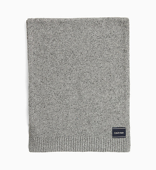 CALVIN KLEIN Wool Blend Scarf - MID GREY HEATHER B38 - VOL39 - CALVIN KLEIN SCARVES - main image