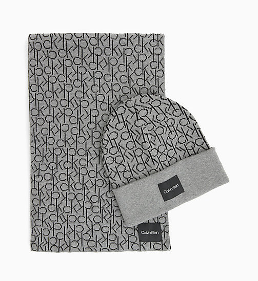 CALVINKLEIN Scarf and Beanie Gift Box - MID GREY HEATHER B38 - VOL39 - CALVIN KLEIN NEW IN - main image