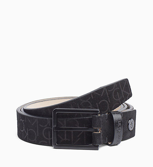 CALVINKLEIN Embossed Suede Belt - BLACK - CALVIN KLEIN BELTS - main image