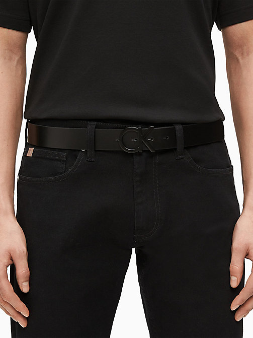 CALVINKLEIN CK Logo Leather Belt - BLACK - CALVIN KLEIN BELTS - detail image 1