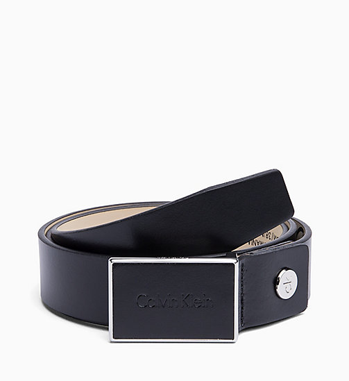 CALVINKLEIN Leather Plaque Belt - BLACK -  SHOES & ACCESSORIES - main image