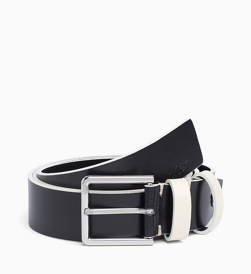 CALVIN KLEIN Leather Belt - GREYSTONE - CALVIN KLEIN MEN - main image