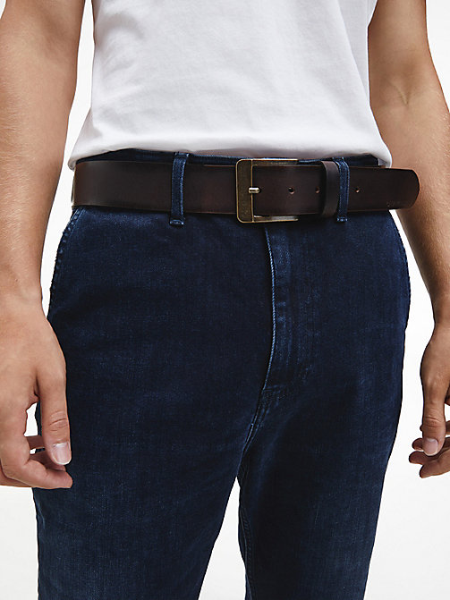 CALVIN KLEIN JEANS Leather Belt - TURKISH COFFEE - CALVIN KLEIN JEANS MEN - detail image 1