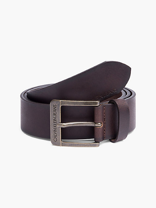 CALVIN KLEIN JEANS Leather Belt - TURKISH COFFEE - CALVIN KLEIN JEANS SHOES & ACCESSORIES - main image