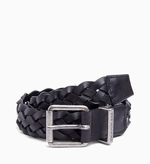 CALVIN KLEIN JEANS Braided Leather Belt - BLACK - CALVIN KLEIN JEANS MEN - main image