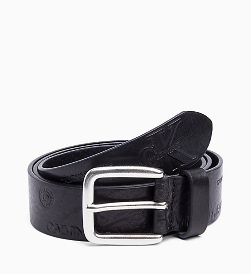 CALVIN KLEIN JEANS Leather Logo Belt - BLACK - CALVIN KLEIN JEANS BELTS - main image