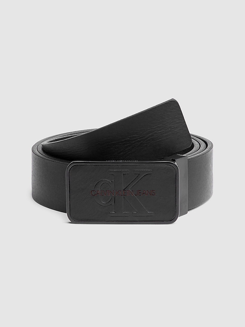 CALVIN KLEIN JEANS Monochrome Plaque Belt - TURKISH COFFEE - CALVIN KLEIN JEANS MEN - main image