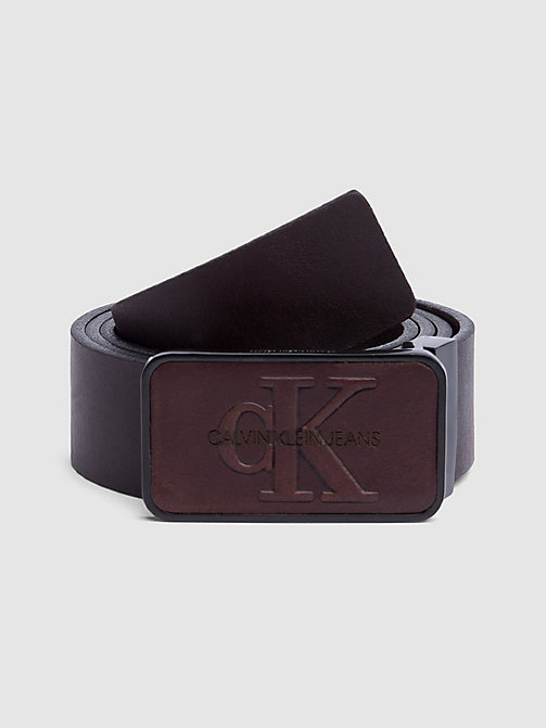 CALVIN KLEIN JEANS Monochrome Plaque Belt - TURKISH COFFEE - CALVIN KLEIN JEANS LOGO SHOP - main image