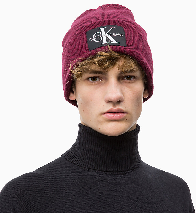 CALVIN KLEIN JEANS Wool Blend Beanie - BLACK BEAUTY - CALVIN KLEIN JEANS MEN - detail image 2