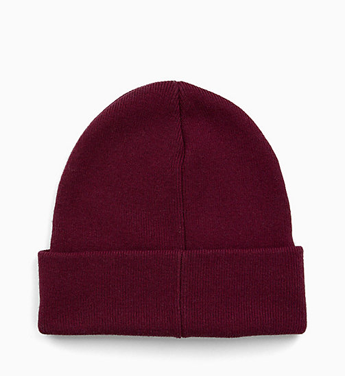 CALVIN KLEIN JEANS Wool Blend Beanie - TAWNY PORT - CALVIN KLEIN JEANS IN THE THICK OF IT FOR HIM - detail image 1