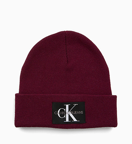 CALVIN KLEIN JEANS Wool Blend Beanie - TAWNY PORT - CALVIN KLEIN JEANS IN THE THICK OF IT FOR HIM - main image