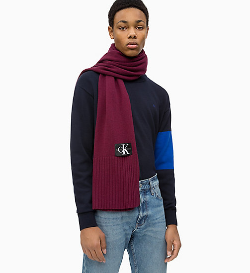 CALVIN KLEIN JEANS Wool Blend Scarf - TAWNY PORT - CALVIN KLEIN JEANS IN THE THICK OF IT FOR HIM - main image