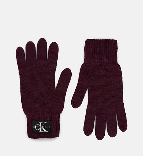CALVIN KLEIN JEANS Wool Blend Gloves - TAWNY PORT - CALVIN KLEIN JEANS IN THE THICK OF IT FOR HIM - main image
