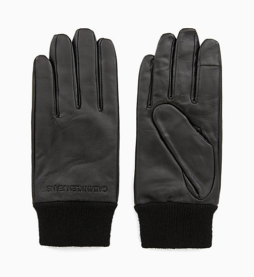 CALVIN KLEIN JEANS Leather Gloves - BLACK BEAUTY - CALVIN KLEIN JEANS CALVIN KLEIN MENSWEAR - main image