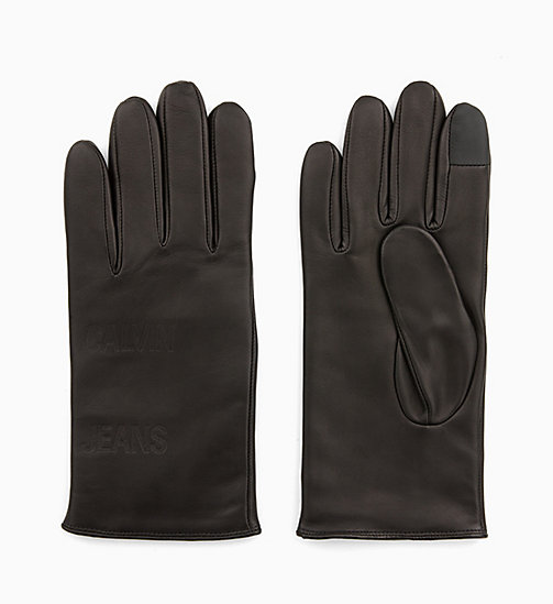 CALVIN KLEIN JEANS Leather Gloves - BLACK BEAUTY - CALVIN KLEIN JEANS GLOVES - main image