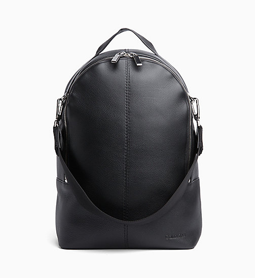 CALVINKLEIN Multi Strap Leather Backpack - BLACK - CALVIN KLEIN BACKPACKS - main image