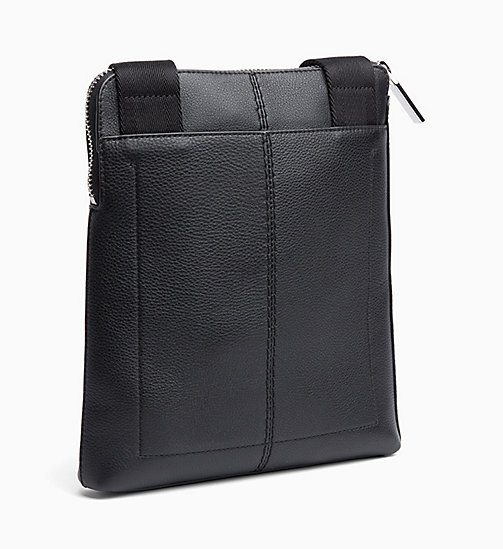 CALVINKLEIN Flat Leather Cross Body Bag - BLACK -  CROSSOVER BAGS - detail image 1