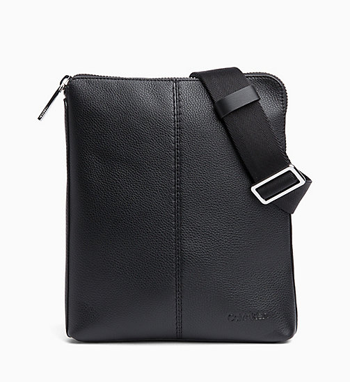 CALVIN KLEIN Flat Leather Cross Body Bag - BLACK - CALVIN KLEIN BAGS - main image