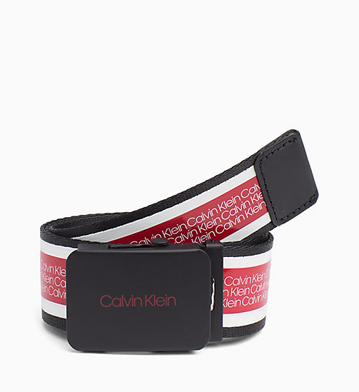 CALVINKLEIN Plaque Logo Belt - CHERRY - CALVIN KLEIN BELTS - main image