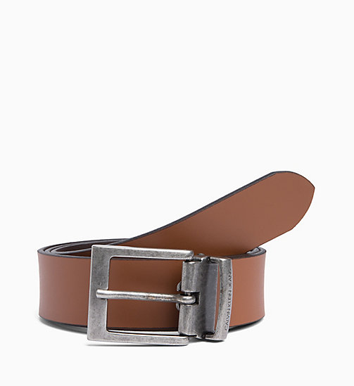CALVIN KLEIN JEANS Reversible Leather Belt - D.BROWN/COGNAC - CALVIN KLEIN JEANS MEN - detail image 1