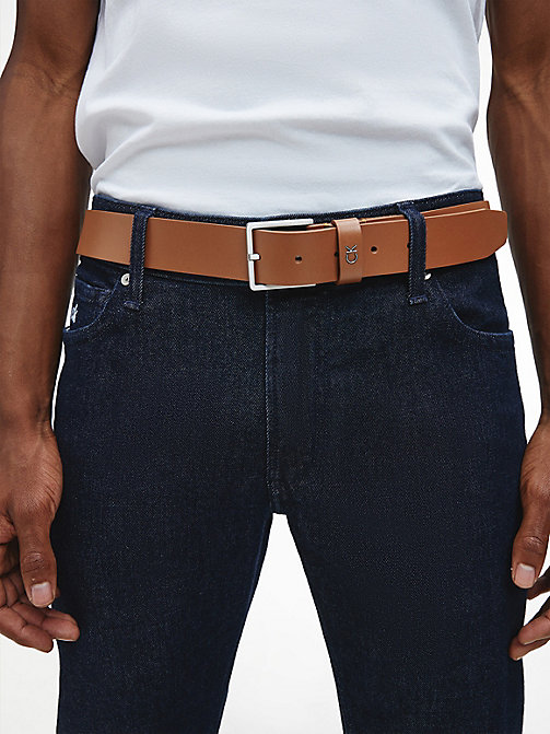 CALVIN KLEIN Leather Belt - COGNAC - CALVIN KLEIN BELTS - detail image 1