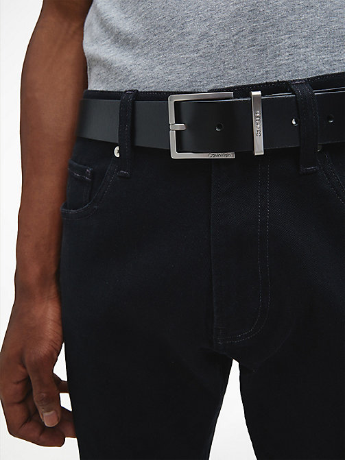 CALVIN KLEIN Leather Belt - BLACK - CALVIN KLEIN BELTS - detail image 1