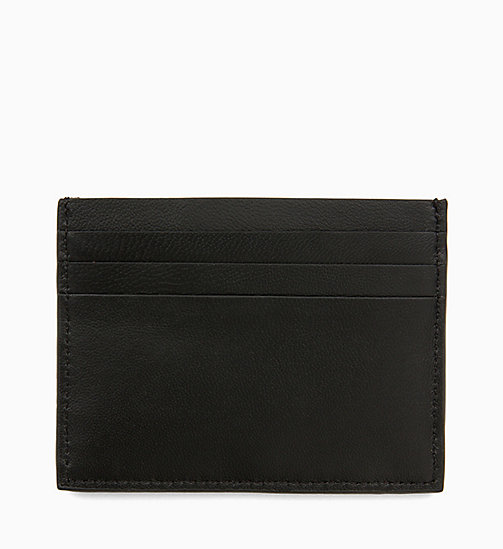 CALVIN KLEIN Leather Plaque Cardholder - BLACK - CALVIN KLEIN WALLETS & SMALL ACCESSORIES - detail image 1