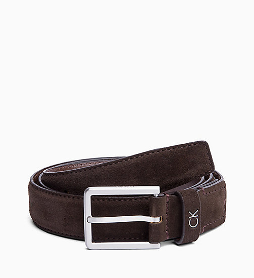 CALVIN KLEIN Suede Belt - TURKISH COFFE - CALVIN KLEIN BELTS - main image