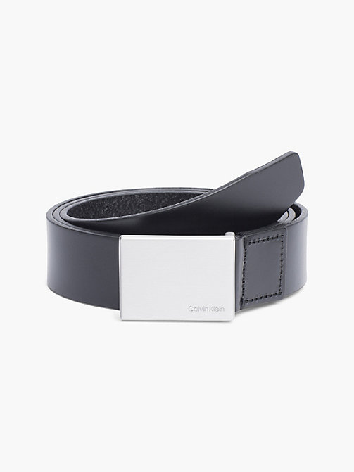 CALVIN KLEIN Leather Plaque Belt - BLACK - CALVIN KLEIN BELTS - main image