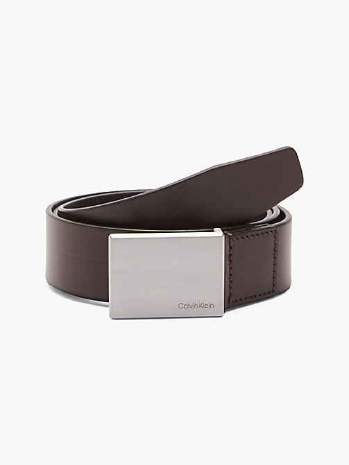 CALVIN KLEIN Leather Plaque Belt - TURKISH COFFE - CALVIN KLEIN BELTS - main image